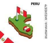 isometric map and flag of peru. ... | Shutterstock .eps vector #643140379