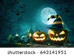 halloween pumpkin head jack... | Shutterstock . vector #643141951
