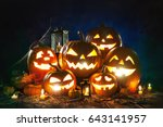 halloween pumpkin head jack... | Shutterstock . vector #643141957