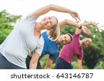 group of mature healthy people... | Shutterstock . vector #643146787