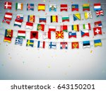 colorful flags of different... | Shutterstock .eps vector #643150201