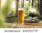 cold beer on desk and grill... | Shutterstock . vector #643151779
