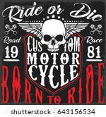 motorcycle poster design skull...   Shutterstock . vector #643156534