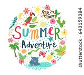 summer adventure lettering.... | Shutterstock .eps vector #643159384