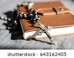 black onyx beads rosary on... | Shutterstock . vector #643162405