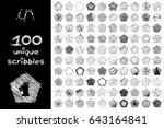 vector set 100 scribbles scrawl ... | Shutterstock .eps vector #643164841