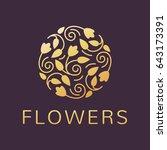 floral logo. flower icon.... | Shutterstock .eps vector #643173391