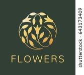 floral logo. flower icon.... | Shutterstock .eps vector #643173409