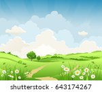 summer vector landscape with... | Shutterstock .eps vector #643174267