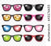 set sunglasses on transparant... | Shutterstock .eps vector #643176655