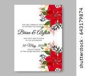 poinsettia wedding invitation...   Shutterstock .eps vector #643179874