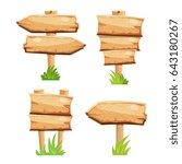 old wooden blank cartoon sign... | Shutterstock . vector #643180267