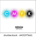 print cmyk halftone dots design ... | Shutterstock .eps vector #643197661