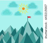 flag on top of the mountain to... | Shutterstock . vector #643215007