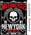 motorcycle tee graphic design | Shutterstock . vector #643222729