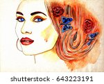 beautiful woman face. abstract... | Shutterstock . vector #643223191