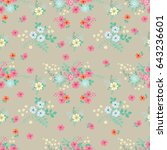 flowery bright pattern in small ... | Shutterstock . vector #643236601