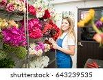happy hispanic florist... | Shutterstock . vector #643239535