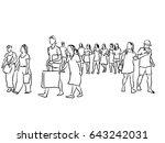 group of people walking ink... | Shutterstock . vector #643242031