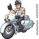 cartoon motorcycle cop. vector... | Shutterstock .eps vector #643255255