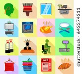 supermarket service icons set.... | Shutterstock . vector #643274311
