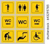 wc   toilet door plate icons... | Shutterstock .eps vector #643295785