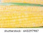 fresh yellow corn on white...   Shutterstock . vector #643297987