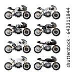 cafe racer style motorbike.... | Shutterstock .eps vector #643311844