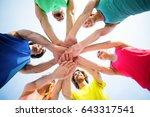 directly below shot of friends... | Shutterstock . vector #643317541
