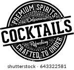 vintage crafted cocktails bar... | Shutterstock .eps vector #643322581