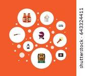 flat caravan  bag  fist aid and ... | Shutterstock .eps vector #643324411