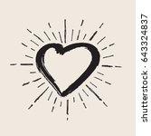 heart symbol with sunburst | Shutterstock .eps vector #643324837