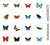 realistic azure peacock ... | Shutterstock .eps vector #643328275