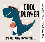 cool player dino  illustration... | Shutterstock .eps vector #643330549