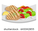 grilled chicken with lettuche ... | Shutterstock .eps vector #643342855