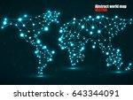 abstract polygonal world map... | Shutterstock .eps vector #643344091