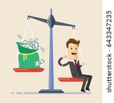 businessman and scales.... | Shutterstock .eps vector #643347235