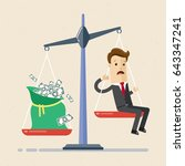 businessman and scales.... | Shutterstock .eps vector #643347241