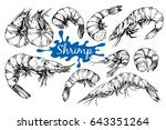 hand drawn sketch style seafood ... | Shutterstock .eps vector #643351264