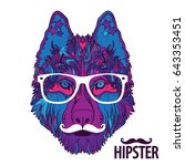 ornament face of hipster dog... | Shutterstock .eps vector #643353451