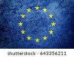 grunge europe union flag. eu... | Shutterstock . vector #643356211