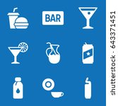 set of 9 drink filled icons...