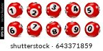 set of red lottery bingo balls... | Shutterstock .eps vector #643371859