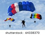 three colorful parachutes on... | Shutterstock . vector #64338370