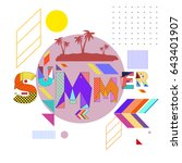 trendy vector summer cards... | Shutterstock .eps vector #643401907
