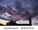 beautiful violet sky sunset... | Shutterstock . vector #643425154