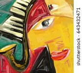 abstract jazz oil painting ... | Shutterstock . vector #643432471