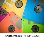 Five Color Of Old Floppy Disks