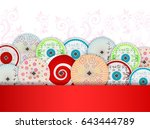 japanese umbrellas | Shutterstock .eps vector #643444789