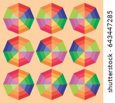 color full polygonal objects... | Shutterstock .eps vector #643447285